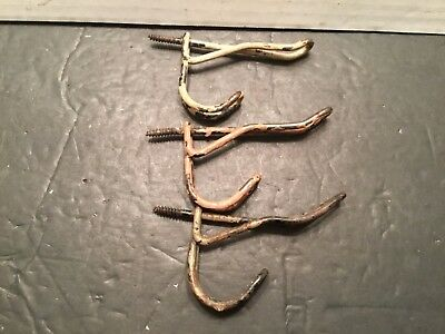Lot of 3 Vintage Antique Rusty Chippy Metal Wire COAT HOOKS Screw In Type*