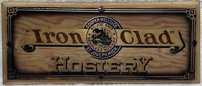 Vintage Iron Clad Hosiery St. Joseph Michigan Cooper, Wells & Co Glass Sign