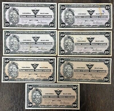 Lot of 7x 1987 Canadian Tire 25 & 50 Cents Notes ***Great Condition*** CTC-S9