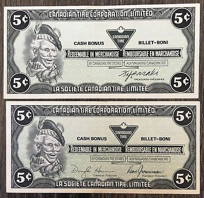 Lot of 2x 1985 Canadian Tire 5 Cents Notes ***Crisp Uncirculated*** CTC-S6-B