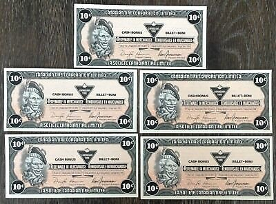 Lot of 5x 1991 Canadian Tire 10 Cents Notes ***Crisp Uncirculated*** CTC-S13-C