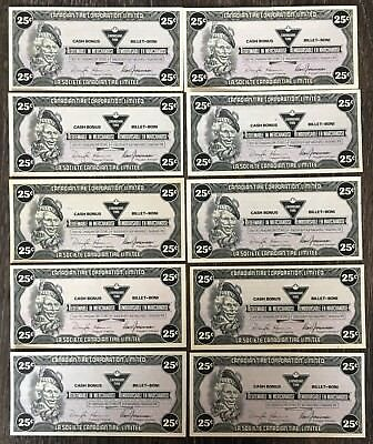 Lot of 10x 1987 Canadian Tire 25 Cents Notes ***Great Condition*** CTC-S9-D
