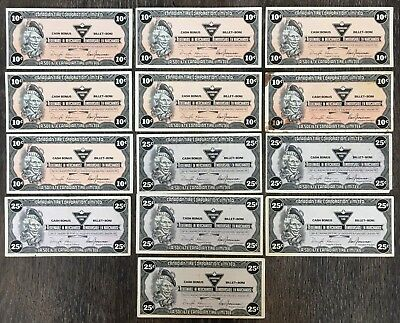 Lot of 13x Canadian Tire 10 & 25 Cents Notes ***Great Condition***