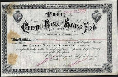 Chester Bank And Saving Fund Of Chester, Pa, 1886, Issued Stock Certificate