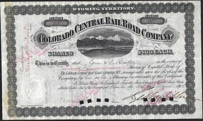 Colorado Central Rail Road Co, Wyoming Territory, 1884, Signed By Sidney Dillon