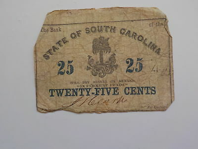 Civil War Confederate 1863 25 Cents Note South Carolina Paper Money Currency VTG