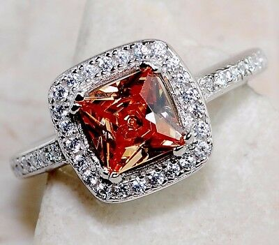 2CT Padparadscha Sapphire & Topaz 925 Solid Sterling Silver Ring Jewelry Sz 7