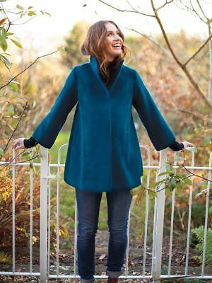New JoJo Maman Bebe Maternity Teal Wool Blend Swing Coat, Jacket S US 2/ 4 ;UK 8
