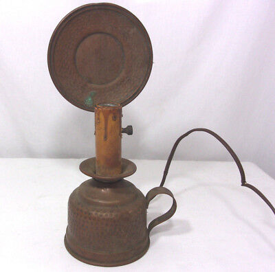 Vintage Arts Crafts Hammered Copper Table Lamp Hand Made Mission 1910s 1920s