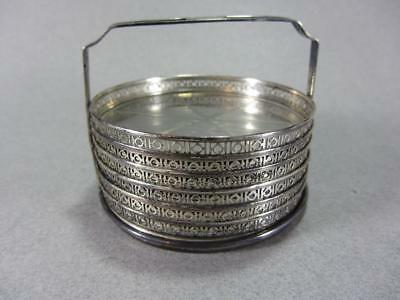 Set of (6) Vintage Webster Sterling Silver & Etched Glass Coasters w/ Holder