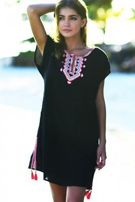 1ead8da0e5631 New Seafolly Australia Black Embroidered Linen Beach Dress Swimsuit Cover Up  S