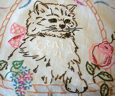 Stunning Vintage Hand Embroidered Cat in Basket Pink Roses Duchess Set