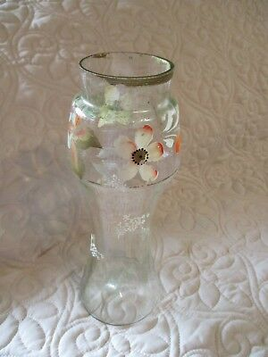 """Antique Green Victorian Blown Glass 10"""" Vase w Floral Hand Painted Decoration"""