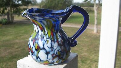 Vintage End Of Day Enamel On Blue Glass Jug