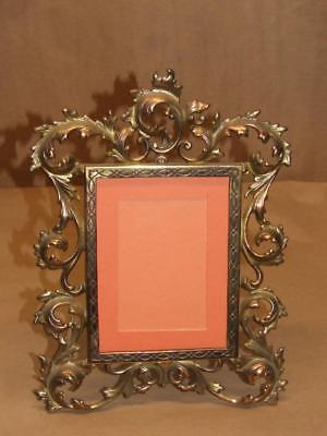 VTG Antique Cast Iron & Gold Gilt Ornate Rococo Style Standing Picture Frame 12""