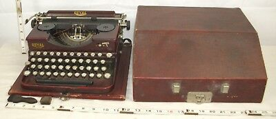 ROYAL PORTABLE ANTIQUE TYPEWRITER 1920s HEMINGWAY WITH CASE #P106073 NICE COLOR
