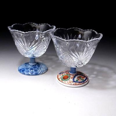 VQ5: Pair of Vintage Japanese glass cups with porcelain foot, Imari ware