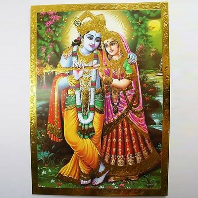 Altarpiece Radha Krishna, Embossing India Hinduism Picture Guru OM Puja 14