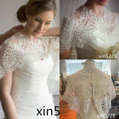 ee207ab6d4825 Luxury Pearls Vintage Lace White Ivory Bridal Shawl Bolero Wedding Jacket  Wraps