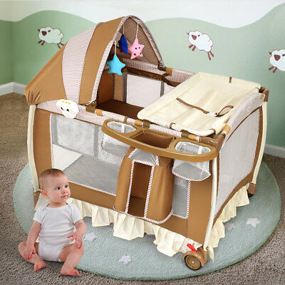 Foldable Baby Crib Playpen Infant Bassinet Bed Multifunction W Bag Toy Music Box