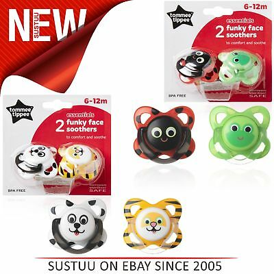 Tommee Tippee Essentials Funky Animal Face Orthodontic Soothers 6-12mX2│BPA Free