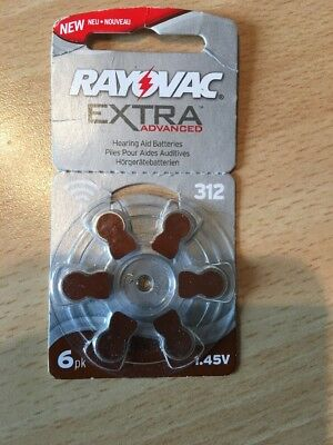 Rayovac Extra Advanced Zinc Air Hearing Aid Batteries, Size 312, Brown Tab, Pack