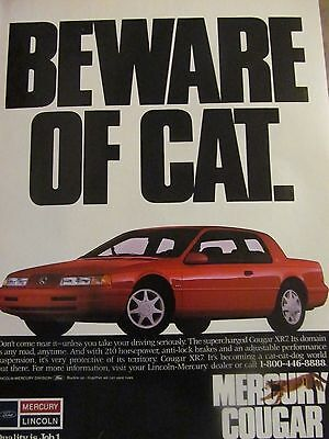 Mercury Cougar, 1990, Full Page Vintage Print Ad