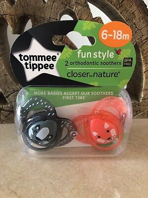 2 PACK  Tommee Tippee Soother Dummy Pacifier 6-18 Months Orthodontic Shape Baby
