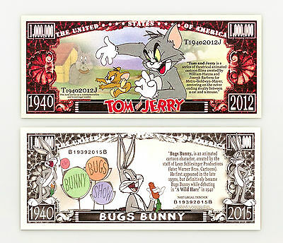 Set of 2 diff. fantasy paper money Bugs Bunny and Tom & Jerry