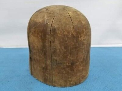 """Vtg Wood Wooden Hat Block Head Style Form Display Mold Millinery size 21""""1/2 770"""