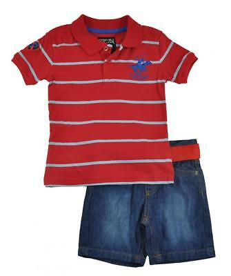 Beverly Hills Polo Club Boys Striped Polo 2pc Short Set Size 4 5/6