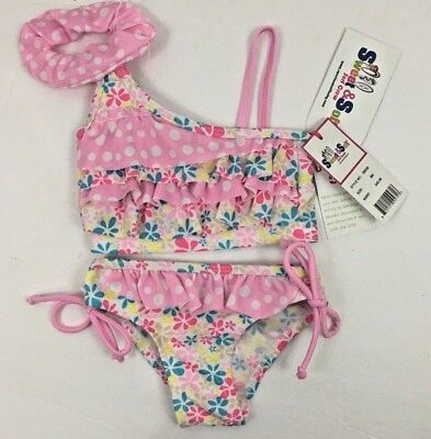 Sweet and Soft Surf Crew Bikini Set 3 Piece Infant Girls Size 6 Months New
