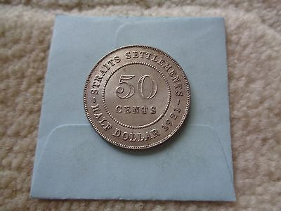 1921 Straits Settlements 50 Cents Silver coin Nice condition