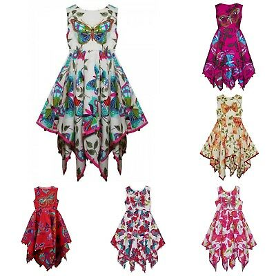 33913cfb2 NEW KIDS GIRLS Summer Dresses Sequinned Butterfly Handkerchief Dress ...