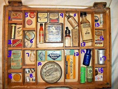 Estate Antique Collection Vintage Medicine Tins & Bottles Hood's Pills RARE NYAL