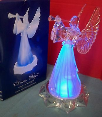 """Christmas Delight Songs of Triumph Acrylic Angel With Lighted Base 10"""" T Trumpet"""