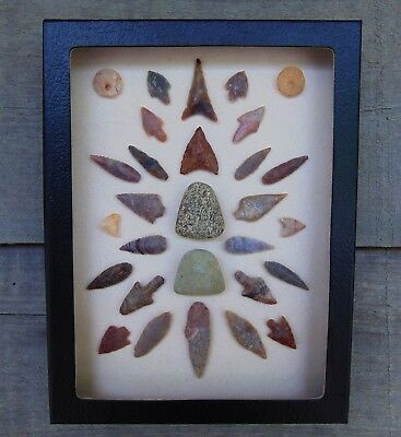 N5) 6X8 Framed Neolithic Artifacts display arrowheads points beads celt arrow