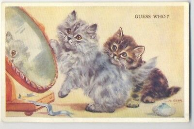 """Vintage Postcard Art Signed M Gear Mabel """" Guess  Who? """" Cats"""