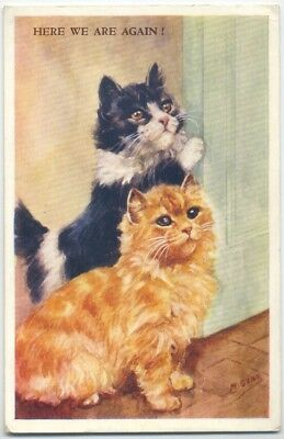 """Vintage Postcard Art Signed M Gear Mabel """"here We Are Again  """" Cats"""