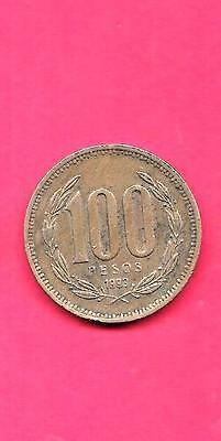 Chile Km226.2 1998 Vf-Very Fine-Nice Large Older 100 Pesos Coin