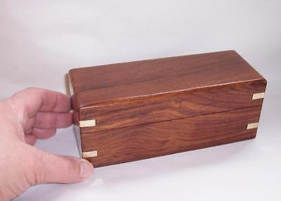 Antique/Vintage WOODEN JEWELLERY/Trinket BOX With BRASS BANDING