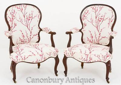 Pair Hepplewhite Arm Chairs - Mahogany Fauteuil Chair 1800