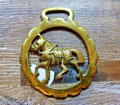 Vintage Brass Horse Saddle Harness Medallion Ornament (a550)