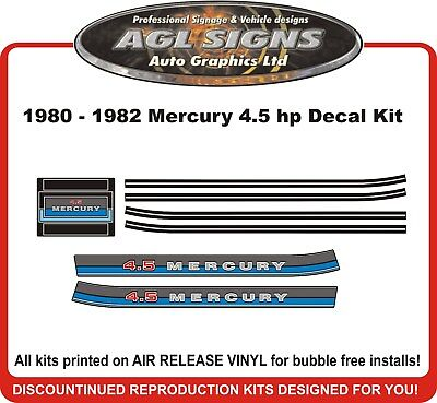 1980 1981 1982  Mercury 4.5 hp Reproduction Outboard Decal Kit