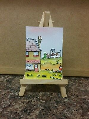 """Original Watercolour Painting ACEO """" Car Spares Store """" by Colin Coles"""