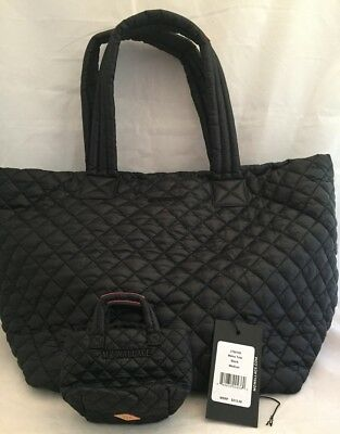 9c8010d40caf MZ Wallace Metro Tote Black Oxford Quilted Nylon Medium w/Matching Key Coin  Bag .
