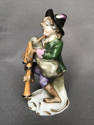 Vintage Chelsea Musician Monkey Playing Porcelain Bagpipes Dresden Figurine