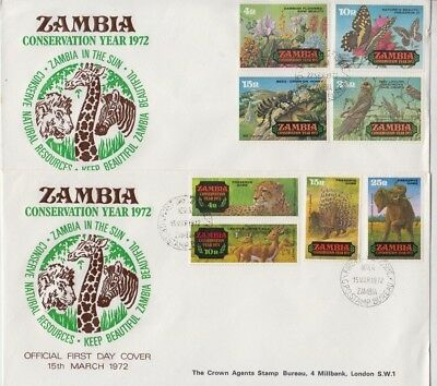 Stamps Zambia Conservation Year 1972 various animals on 2 FDC's March September