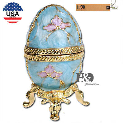 Faberge Blue Egg Shaped Crystal Metal Trinket Boxes Figurines Collection Gift