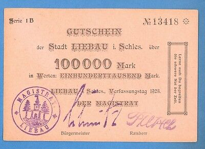 Latvia Lettland Germany Liebau  100000 Mark 1923  866